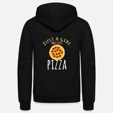 Evening Just A Girl Who Loves Pizza Pepperoni - Unisex Fleece Zip Hoodie