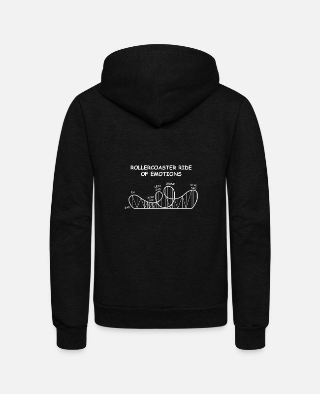 Hipster Hoodies & Sweatshirts - Rollercoaster Emotions Emotional Person Gift - Unisex Fleece Zip Hoodie black