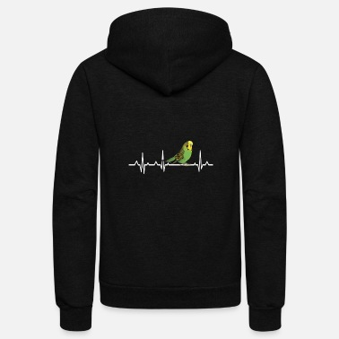 Heartbeat Budgie Bird Love - Unisex Fleece Zip Hoodie