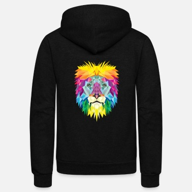Humor Rainbow Colored Lion Face Gift Lion Fan - Unisex Fleece Zip Hoodie
