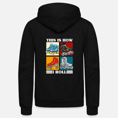Roller Skate Roller Skating Themed Design, Rollerblades, Girls - Unisex Fleece Zip Hoodie