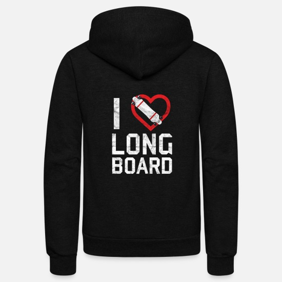 Sports Hoodies & Sweatshirts - Sports I love long board - Unisex Fleece Zip Hoodie black