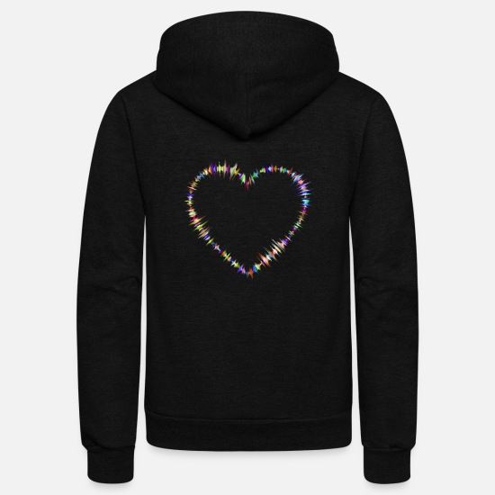 Love Hoodies & Sweatshirts - Prismatic Sound Waves Heart 2 - Unisex Fleece Zip Hoodie black