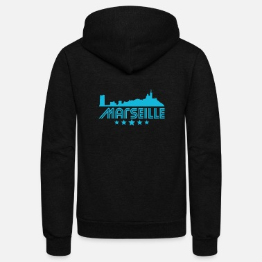 Marseille Retro Marseille Skyline - Unisex Fleece Zip Hoodie