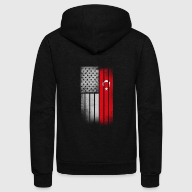 Turkish American Flag - Unisex Fleece Zip Hoodie