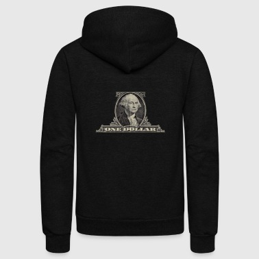 Dollar One Dollar Bill - George Washington - Unisex Fleece Zip Hoodie