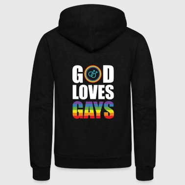 God Loves Gays - Cute Gay Pride Shirt - Unisex Fleece Zip Hoodie