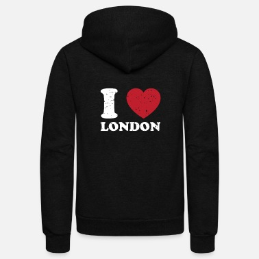 London I Love London Great Britain Cute Vintage Heart - Unisex Fleece Zip Hoodie