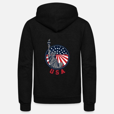 Usa 4th of July USA Statue of Liberty Shirt - Unisex Fleece Zip Hoodie