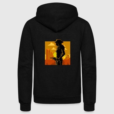 Idea Western Cowboy Wild West Gift Idea Sunset Cowgirl - Unisex Fleece Zip Hoodie