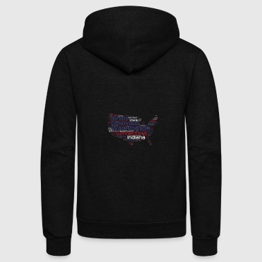 USA map with all states insides - Unisex Fleece Zip Hoodie