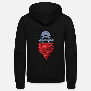 Gorilla Gorilla Gangster Ape wearing a Red Bandanna - Unisex Fleece Zip Hoodie