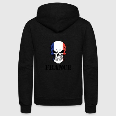 French Flag Skull France - Unisex Fleece Zip Hoodie