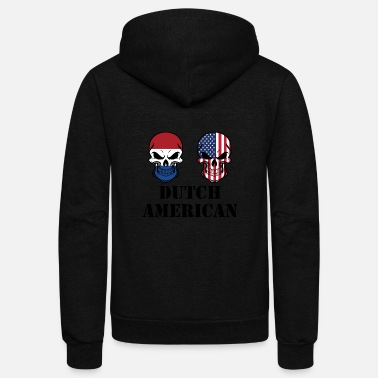Netherlands Dutch American Flag Skulls - Unisex Fleece Zip Hoodie