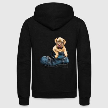 cute dog canine puppy pet in a shoe - Unisex Fleece Zip Hoodie