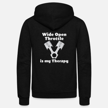 Funny Drag Racing Drag Car Racing - Wide Open Throttle Is My Therapy - Unisex Fleece Zip Hoodie