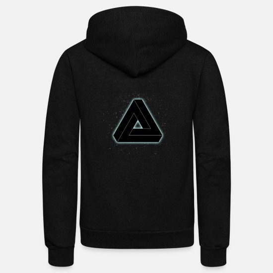 illusion black pyramid nerd space illuminati geome Unisex Fleece Zip Hoodie  - black