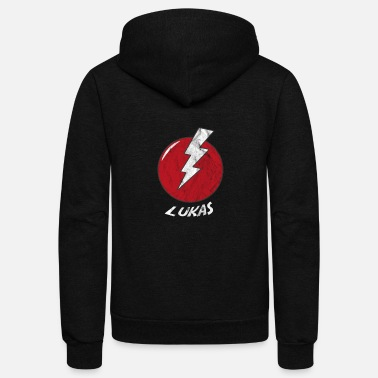 Lukas Funny Bolt Name Shirt Superhero Lukas - Unisex Fleece Zip Hoodie
