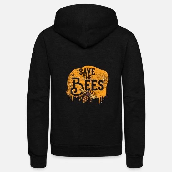 Love Hoodies & Sweatshirts - save the bees gift fight save animals world earth - Unisex Fleece Zip Hoodie black