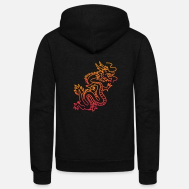 Dragon Trippy Psychedelic Chinese Dragon - Unisex Fleece Zip Hoodie
