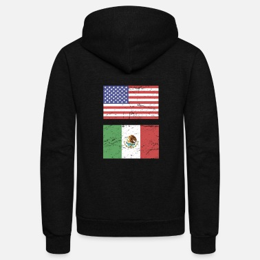 State Flag United States Flag & Mexico Flag - Unisex Fleece Zip Hoodie