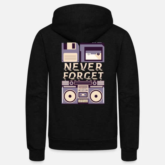 Walkman Hoodies & Sweatshirts - Never Forget VHS Tape Cassette Disk Storage Retro - Unisex Fleece Zip Hoodie black