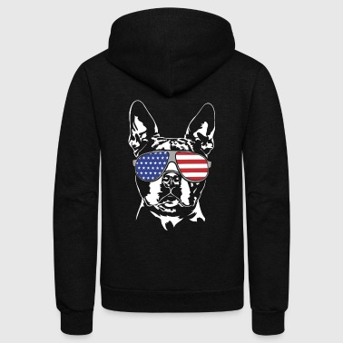 BOSTON TERRIER with America Flag Sunglasses - Unisex Fleece Zip Hoodie