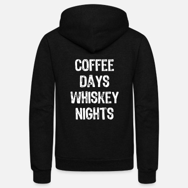 Nightspot Coffee - coffee days whiskey nights funny - Unisex Fleece Zip Hoodie