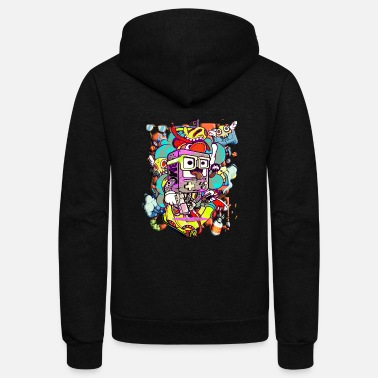 Graffiti Funny cartoon game graffiti - Unisex Fleece Zip Hoodie