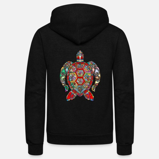 Turtle Hoodies & Sweatshirts - sea turtle - Unisex Fleece Zip Hoodie black
