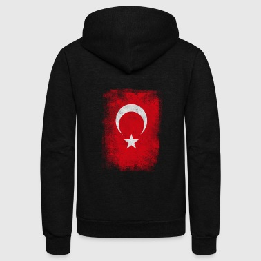 Turkey Turkish Flag Vintage Distressed T-Shirt - Unisex Fleece Zip Hoodie