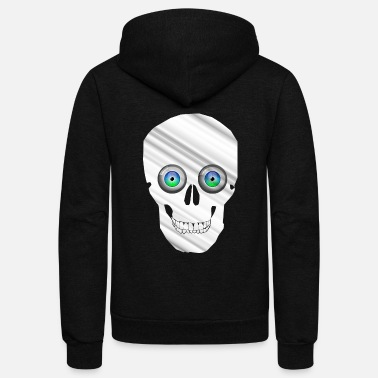 Skull And Bones Skull white with blue green eyes, metal look - Unisex Fleece Zip Hoodie