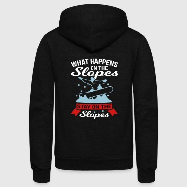 Stay On The Slopes Snowboard - Unisex Fleece Zip Hoodie