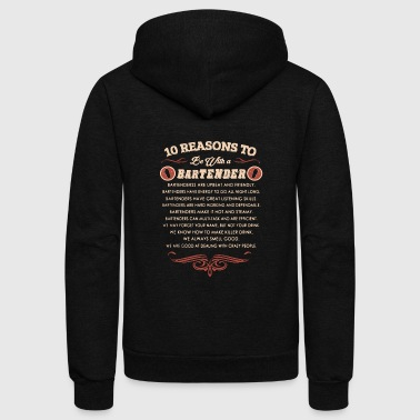 Bartender 10 Reasons To Date A Bartend - Bartender Tee Shirt - Unisex Fleece Zip Hoodie