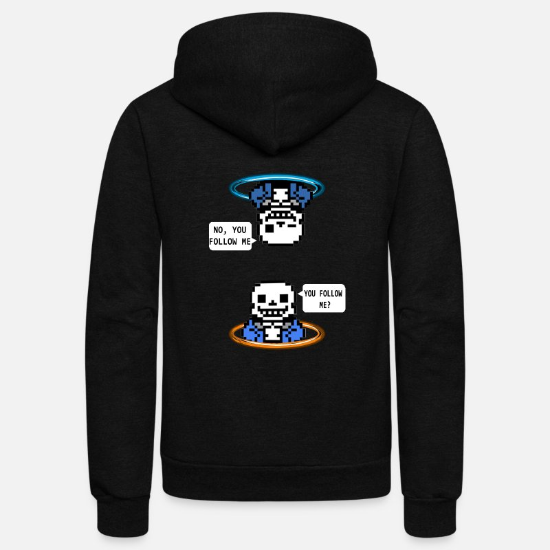 Undertale Hoodies & Sweatshirts - Portal: sans - Unisex Fleece Zip Hoodie black