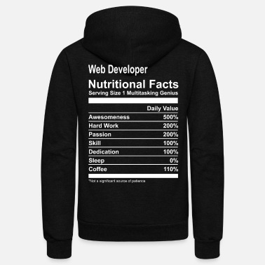 Developer Web Developer Nutritional Facts Tee Shirt - Unisex Fleece Zip Hoodie