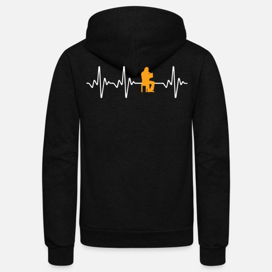 Instrument Hoodies & Sweatshirts - Horn Yellow Tee Shirt Design - Unisex Fleece Zip Hoodie black