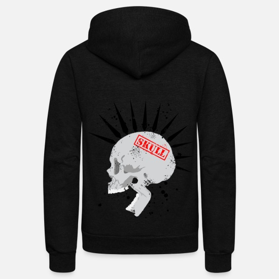 Punk Hoodies & Sweatshirts - Punk Skull - Unisex Fleece Zip Hoodie black