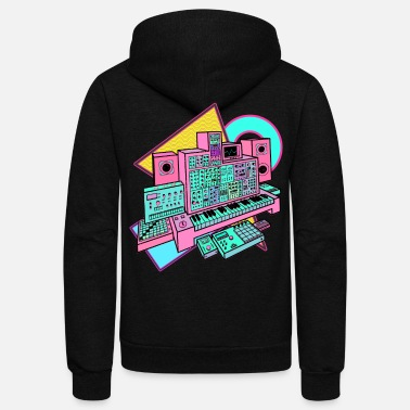 Modular Synthesizer for Electronic Music Producer - Unisex Fleece Zip Hoodie