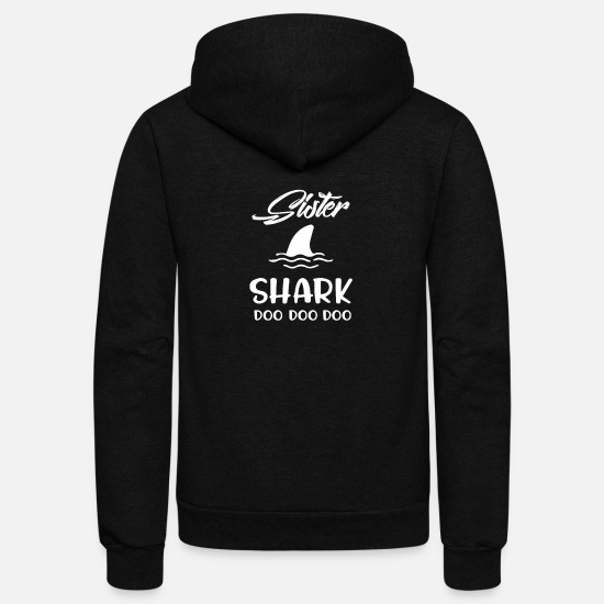 Baby Hoodies & Sweatshirts - Sister Shark graphic - Baby Shark Gift for Sister - Unisex Fleece Zip Hoodie black