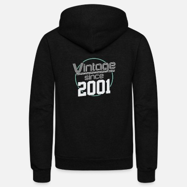 Date Of Birth Vintage Retro Born Birth 2001 20th Birthday Gift - Unisex Fleece Zip Hoodie