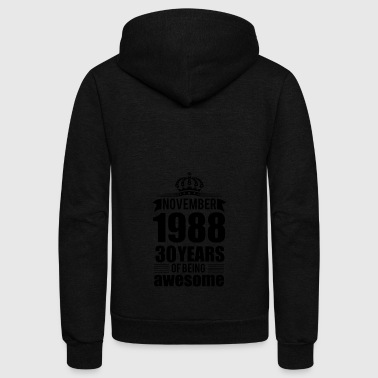 NOVEMBER 1988 30 YEARS - Unisex Fleece Zip Hoodie
