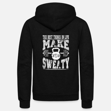 Squat Lifting - BEst things in life make you sweaty te - Unisex Fleece Zip Hoodie
