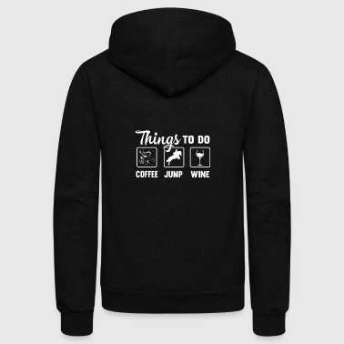 Coffee, jump, wine - Horse racing - Unisex Fleece Zip Hoodie