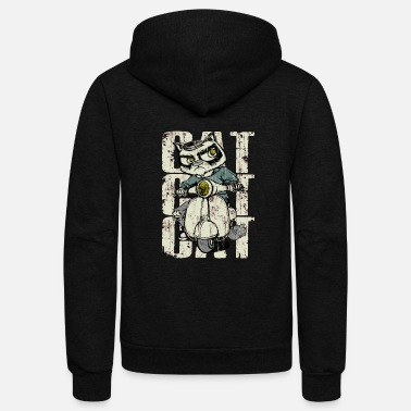 Cat on Motorbike - Unisex Fleece Zip Hoodie