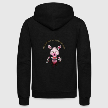 funtime foxy:Try your best to hold onto saninty - Unisex Fleece Zip Hoodie