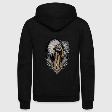 american indian skull - Unisex Fleece Zip Hoodie