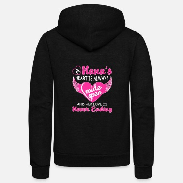 Nana Nana - Nana - nana's heart is always wide open - Unisex Fleece Zip Hoodie