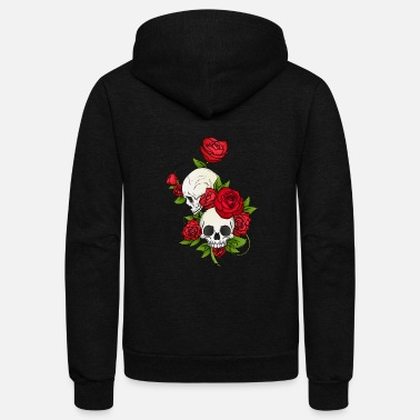 Skull SKULLS AND ROSES - Unisex Fleece Zip Hoodie