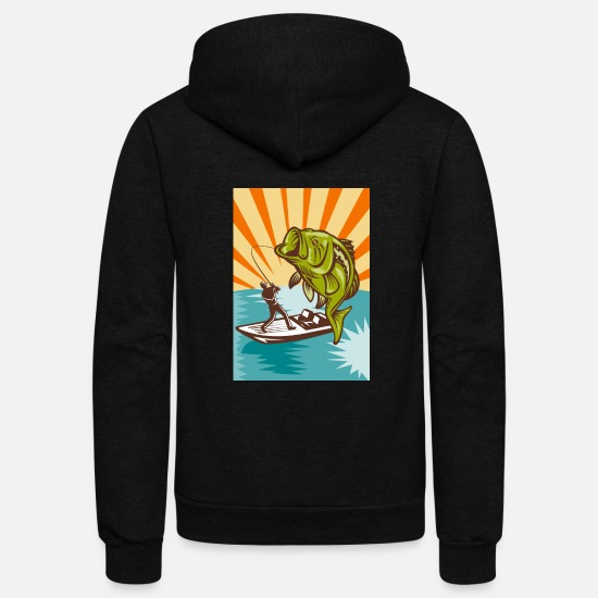 Bass Hoodies & Sweatshirts - Largemouth-Bass-Fisherman - Unisex Fleece Zip Hoodie black